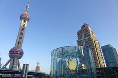 Μαγαζί λιανικής πώλησης της Apple στο lujiazui της Σαγκάη Στοκ εικόνα με δικαίωμα ελεύθερης χρήσης