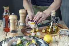 Μαγείρεμα έννοιας, ψάρια, μαγείρεμα, τρόφιμα, μάγειρας, γεύμα, υγιές, κινηματογράφηση σε πρώτο πλάνο ο κύριος μάγειρας απομόνωσε  Στοκ φωτογραφία με δικαίωμα ελεύθερης χρήσης