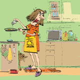 Μαγείρεμα γυναικών στην κουζίνα Στοκ εικόνα με δικαίωμα ελεύθερης χρήσης