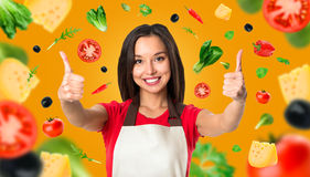 Μαγείρεμα και έννοια τροφίμων - χαμογελώντας θηλυκός αρχιμάγειρας Στοκ Εικόνες