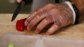 Μαγείρεμα και υπαίθρια έννοια - κλείστε επάνω της αρσενικής τέμνουσας ντομάτας χεριών στον τέμνοντα πίνακα με το αιχμηρό μαχαίρι απόθεμα βίντεο