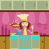 Μαγείρεμα κοριτσιών στην κουζίνα ελεύθερη απεικόνιση δικαιώματος