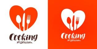 Μαγείρεμα, κουζίνα, λογότυπο μαγειρικής Εστιατόριο, επιλογές, καφές, εικονίδιο γευματιζόντων ή ετικέτα επίσης corel σύρετε το διά διανυσματική απεικόνιση
