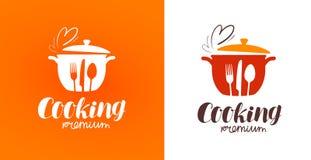 Μαγείρεμα, κουζίνα, λογότυπο μαγειρικής Εστιατόριο, επιλογές, καφές, ετικέτα γευματιζόντων ή εικονίδιο επίσης corel σύρετε το διά απεικόνιση αποθεμάτων