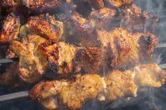 Μαγείρεμα κρέατος χοιρινού κρέατος υπαίθριο στους σιγοκαίγοντας άνθρακες στοκ εικόνα