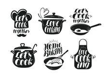 Μαγείρεμα, μαγειρική, σύνολο ετικετών κουζίνας Μάγειρας, αρχιμάγειρας, εικονίδιο εργαλείων κουζινών ή λογότυπο Χειρόγραφη εγγραφή ελεύθερη απεικόνιση δικαιώματος