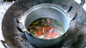 Μαγείρεμα σε μια πυρκαγιά απόθεμα βίντεο
