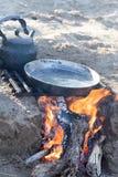 Μαγείρεμα στη φύση του πασσάλου Στοκ Εικόνα
