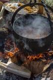 Μαγείρεμα στο στρατόπεδο σε υπαίθριο Στοκ Εικόνες