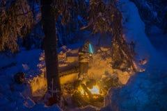 Μαγείρεμα στο χειμερινό ταξίδι Στοκ Φωτογραφίες