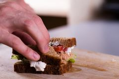 Μαγείρεμα του φρέσκου σπιτικού ψημένου στη σχάρα σάντουιτς τόνου στο ξύλο Στοκ Εικόνες
