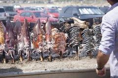 Μαγείρεμα των ψαριών στη Μάλαγα Στοκ Εικόνες