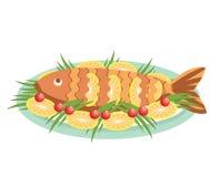 Μαγειρευμένα διάνυσμα ψάρια με τα λεμόνια. Διανυσματικά τρόφιμα isolat Στοκ Εικόνα