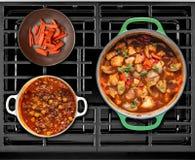 Μαγειρευμένα τρόφιμα σε μια σόμπα αερίου Στοκ Εικόνες