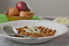 Μαγειρευμένα φασόλια με το κρεμμύδι Στοκ Φωτογραφία