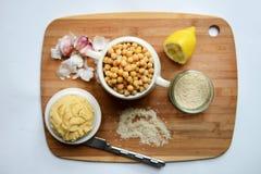 Μαγειρευμένα Chickpeas και Hummus Στοκ φωτογραφίες με δικαίωμα ελεύθερης χρήσης