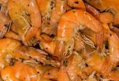 Μαγειρευμένες λεπτές φρέσκες γαρίδες με τα χορτάρια, τα καρυκεύματα και το άλας Στοκ Εικόνες