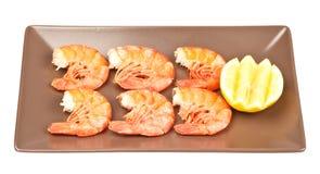 Μαγειρευμένες ουρές γαρίδων Στοκ Εικόνες