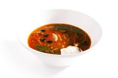 Μαγειρευμένη σούπα κρέατος με τις ελιές και το λεμόνι Στοκ Εικόνες