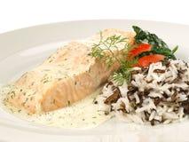 Μαγειρευμένος σολομός - λωρίδα ψαριών με το άγριο ρύζι στοκ εικόνες με δικαίωμα ελεύθερης χρήσης