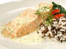 Μαγειρευμένος σολομός - λωρίδα ψαριών με το ρύζι στοκ φωτογραφίες