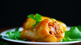 Μαγειρευμένος στα γεμισμένα πιπέρια σάλτσας ντοματών απόθεμα βίντεο