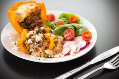 Μαγειρευμένος peppar με το κρέας και τα λαχανικά Στοκ φωτογραφία με δικαίωμα ελεύθερης χρήσης