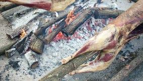 Μαγειρευμένο αρνί στην ξύλινη πυρκαγιά σχαρών φιλμ μικρού μήκους