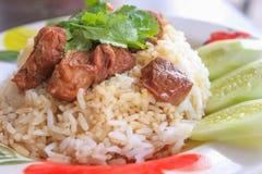 Μαγειρευμένο βόειο κρέας με το ρύζι Στοκ Εικόνες