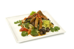 Μαγειρευμένο μανιτάρια κρέας Shiitake με τα λαχανικά Στοκ Εικόνες