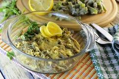 Μαγειρευμένο πιάτο των ψημένων πράσινων φασολιών Στοκ Εικόνες