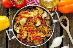 Μαγειρευμένο ύφος θερινών λαχανικών ratatouille Στοκ Εικόνα