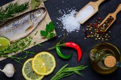 Μαγειρεύοντας ακατέργαστα ψάρια και συστατικά Στοκ Εικόνες