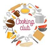 Μαγειρεύοντας διανυσματική αφίσα εικονιδίων σκευών για την κουζίνα αρχιμαγείρων λεσχών διανυσματική απεικόνιση