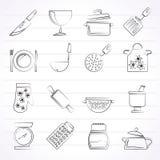 Μαγειρεύοντας εικονίδια εξοπλισμού Στοκ Εικόνα