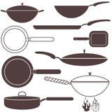 μαγειρεύοντας εξοπλισμός που τηγανίζει το απομονωμένο παν λευκό Στοκ Εικόνα