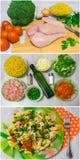 Μαγειρεύοντας ζυμαρικά με το κοτόπουλο και το μπρόκολο Στοκ Φωτογραφία