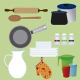 μαγειρεύοντας καθορισμένα εργαλεία κουζινών Στοκ Φωτογραφίες