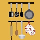 μαγειρεύοντας καθορισμένα εργαλεία κουζινών Στοκ Εικόνες