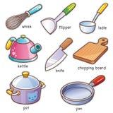 μαγειρεύοντας καθορισμένα εργαλεία κουζινών απεικόνιση αποθεμάτων