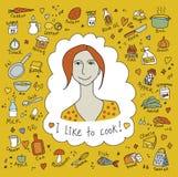 Μαγειρεύοντας κορίτσι και αντικείμενα απεικόνιση αποθεμάτων