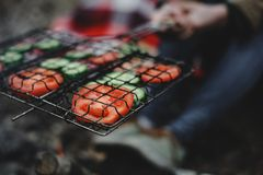 Μαγειρεύοντας ντομάτες και αγγούρια στον πάσσαλο Στοκ Φωτογραφίες