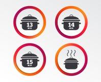 Μαγειρεύοντας παν εικονίδια Βράστε δεκαπέντε λεπτά απεικόνιση αποθεμάτων