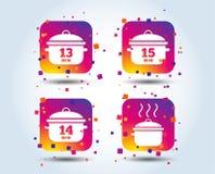 Μαγειρεύοντας παν εικονίδια Βράστε δεκαπέντε λεπτά διανυσματική απεικόνιση