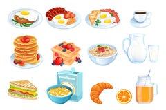 Μαγειρεύοντας πρόγευμα, διανυσματική απεικόνιση κινούμενων σχεδίων Σύνολο απομονωμένων πιάτων γεύματος πρωινού Σχέδιο επιλογών εσ διανυσματική απεικόνιση
