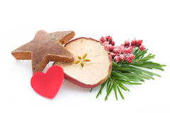 μαγειρεύοντας ραβδιά αστεριών καρυκευμάτων συστατικών κανέλας Χριστουγέννων γλυκάνισου Apple, γλυκάνισο, αστέρια, κανέλα, πεύκο α Στοκ Εικόνα