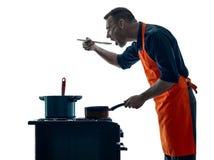 Μαγειρεύοντας σκιαγραφία αρχιμαγείρων ατόμων που απομονώνεται Στοκ Εικόνες