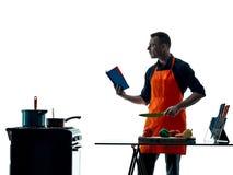 Μαγειρεύοντας σκιαγραφία αρχιμαγείρων ατόμων που απομονώνεται Στοκ Φωτογραφία