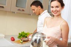 μαγειρεύοντας σπίτι Στοκ Εικόνα