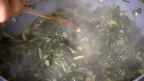 Μαγειρεύοντας σπανάκι απόθεμα βίντεο
